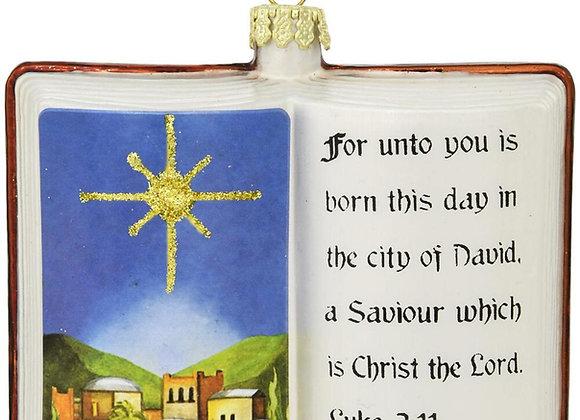Bible with Bethlehem Nativity Scene Glass Ornament