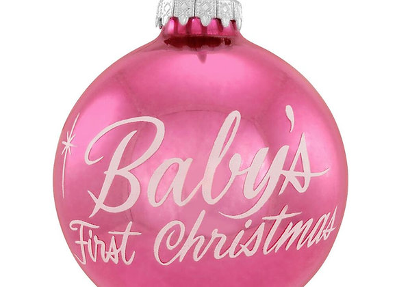 Baby Girl First Christmas Glass Ornament