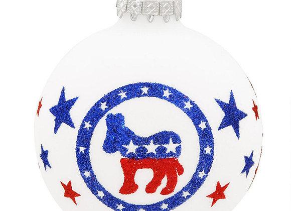 Democratic Donkey Glass Ornament