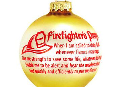 Firefighters Prayer Round Glass Ball