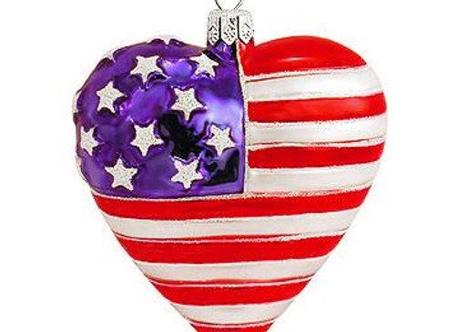 Heart Shaped American Flag Glass Ornament