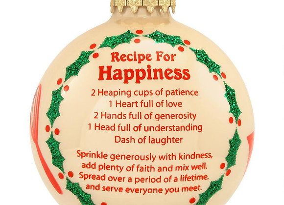 Recipe for Happiness Round Glass Ball