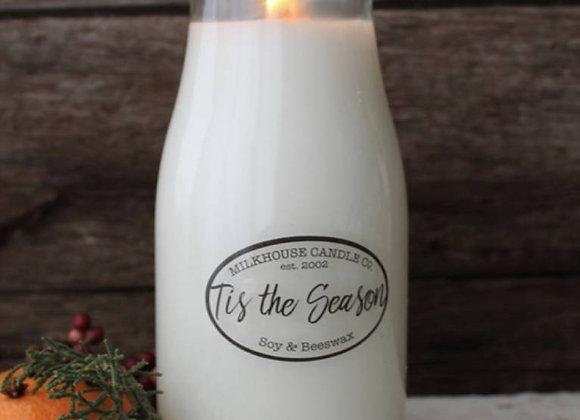 Tis The Season 8oz. Milk bottle candle
