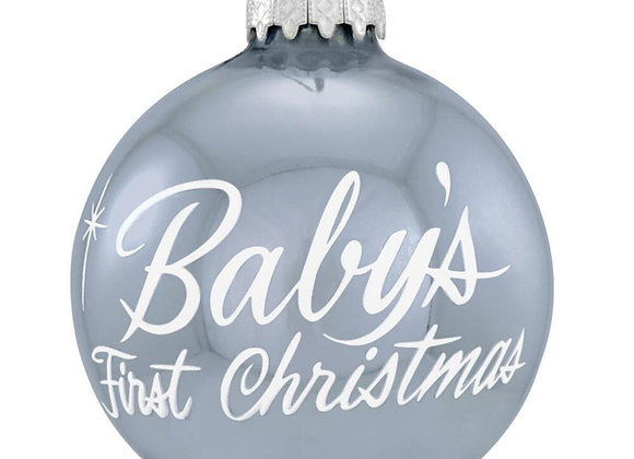 Baby Boy First Christmas Glass Ornament