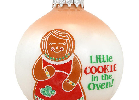 Little Cookie in the Oven Glass Ornament