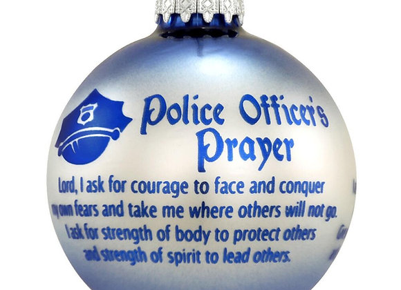 Police Officer's Prayer Round Glass Ball