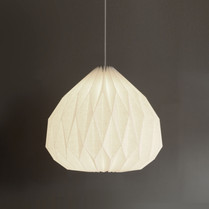 Hanging medium ume origami lamp in off-white linen