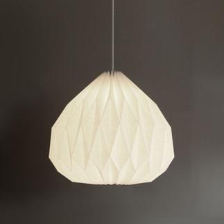 Hanging medium ume origami lamp in off-white linen