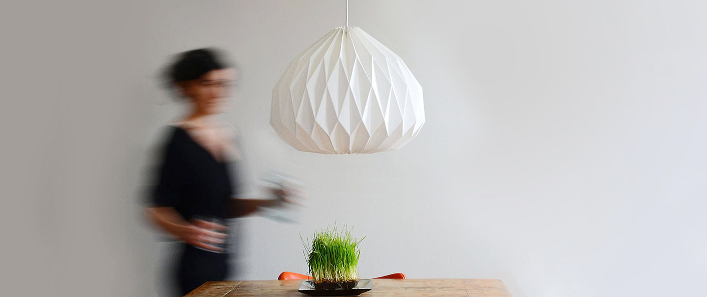 Handcrafted Modern Pendant Lamp made of hand folded origami linen shade