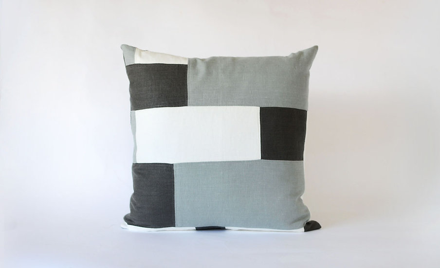 Charcoal, Grey and White Patchwork Block Linen Pillow Front View