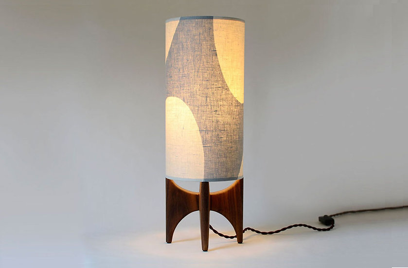 Glowing grey and white linen tall lamp