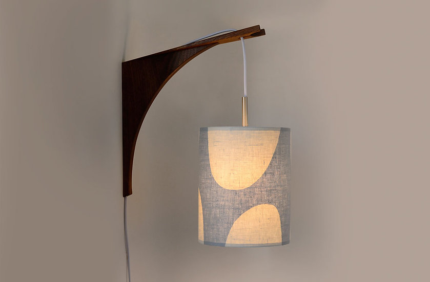 LUMA WALL LAMP - Grey Shade/Walnut Bracket