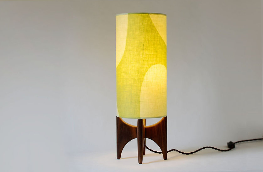 Illuminated green & black walnut tall lamp