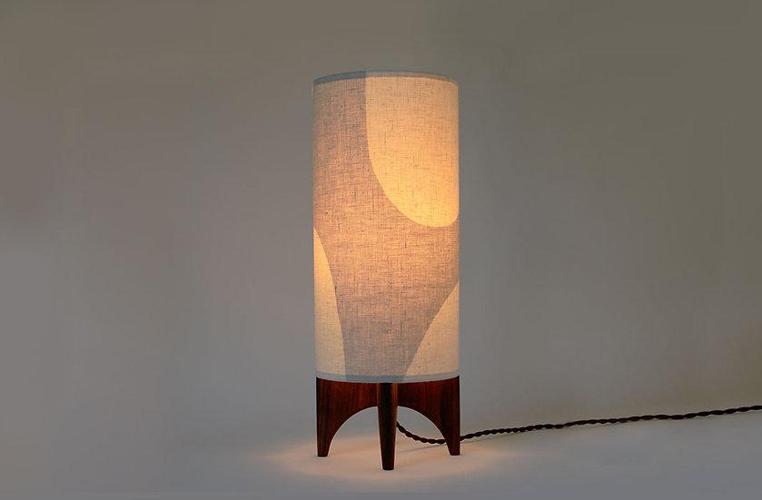 Illuminated grey & white linen lamp