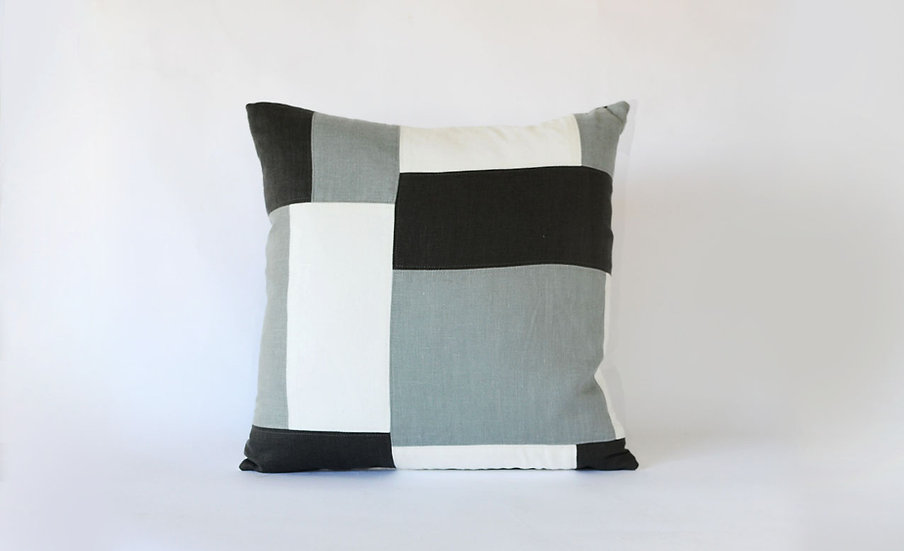 Charcoal, Grey and White Patchwork Block Pillow