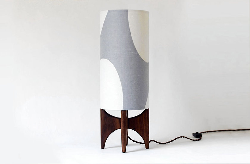 Tall Grey and White LUMA table lamp front view