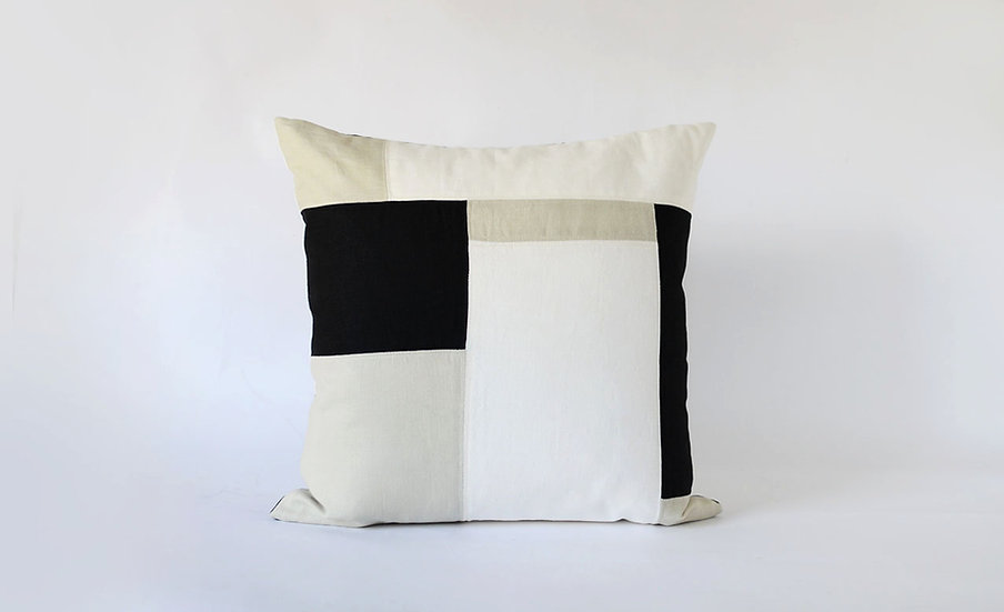 Handmade Beige, White & Black Patchwork Pillow, Front View