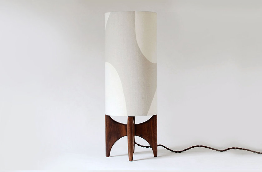 Beige & off white LUMA tall table lamp front view