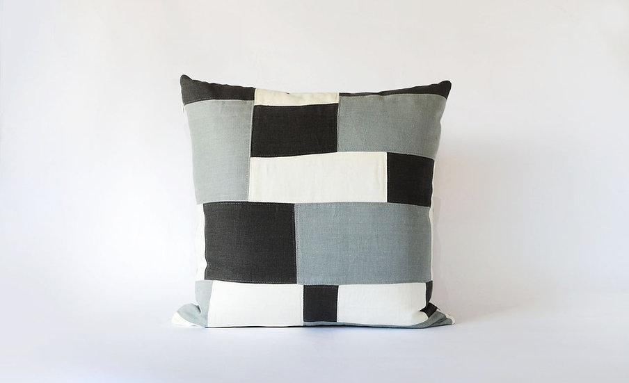 Charcoal, Black & White Linen Pillow, Front View