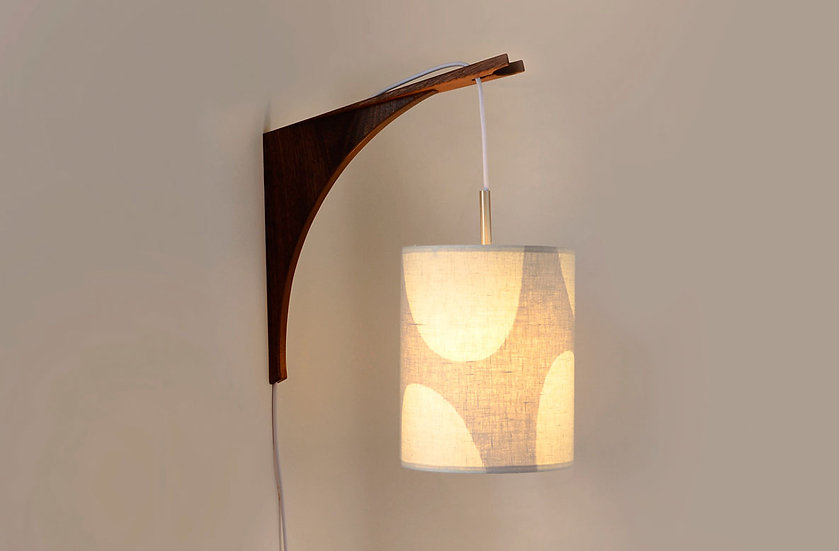 LUMA WALL LAMP - Beige Shade/Walnut Bracket