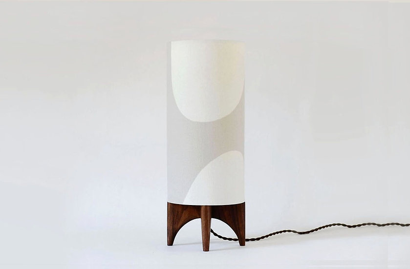 Beige & black walnut LUMA table lamp, front view