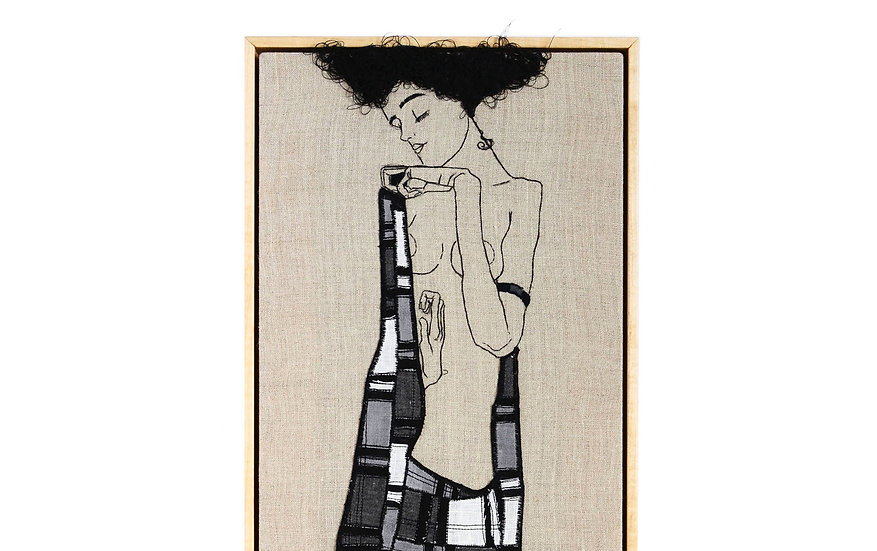 """EGON SCHIELE EMBROIDERY ART (9"""" x 16"""")   MADE TO ORDER"""