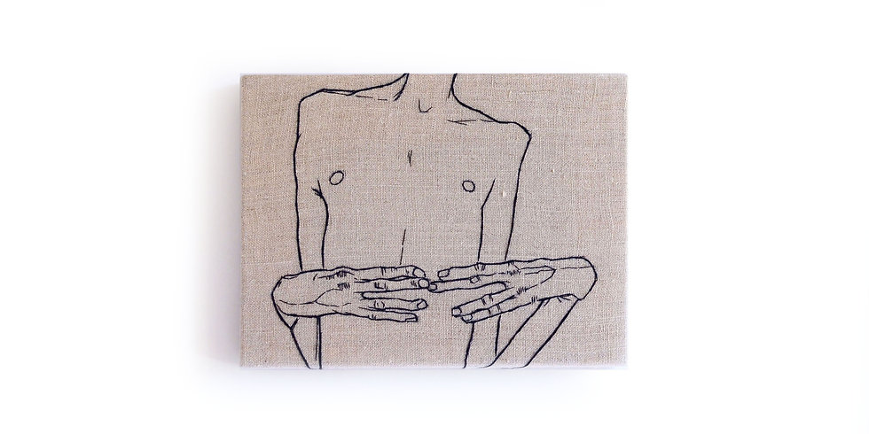 """EGON SCHIELE EMBROIDERY ART (6"""" x 8"""") MADE TO ORDER"""