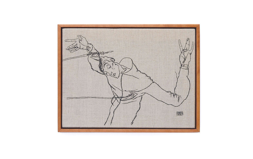 "EGON SCHIELE EMBROIDERY ART (9' x 12"") MADE TO ORDER"