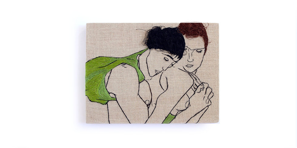 "EGON SCHIELE EMBROIDERY ART (6"" x 8"") MADE TO ORDER"