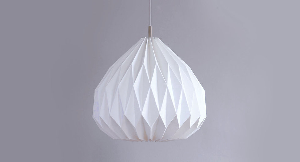 Large origami pendant lamp with ceiling canopy