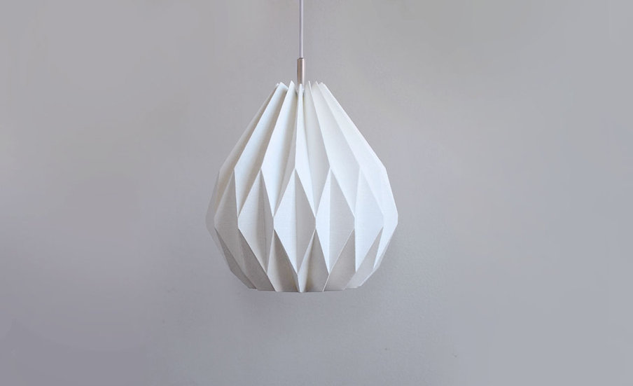 Origami pendant lamp with ceiling canopy