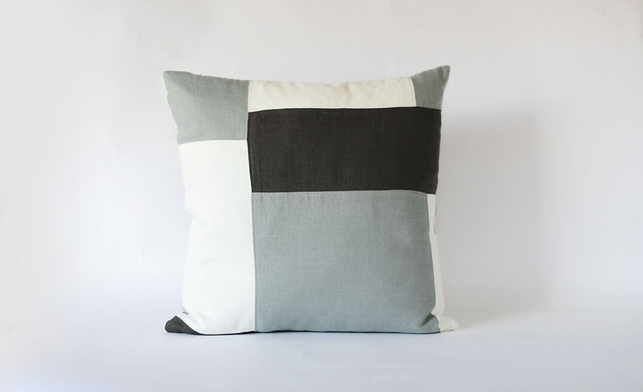 Grey, Black & White Patchwork Block Pillow Front View