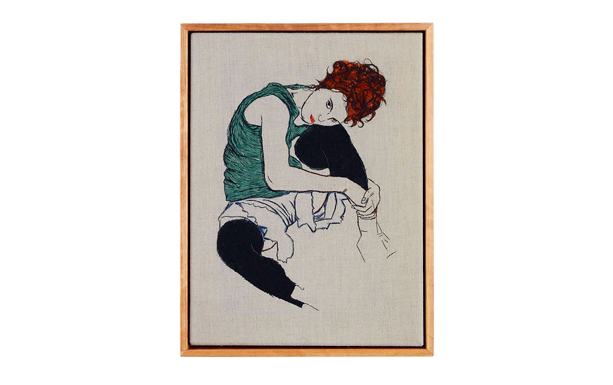 """EGON SCHIELE EMBROIDERY ART (9"""" x 12"""")   MADE TO ORDER"""
