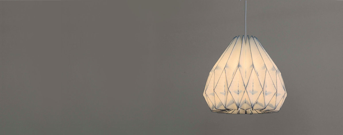 Handcrafted Pendant lamp made of handyed linen with natural indigo dye
