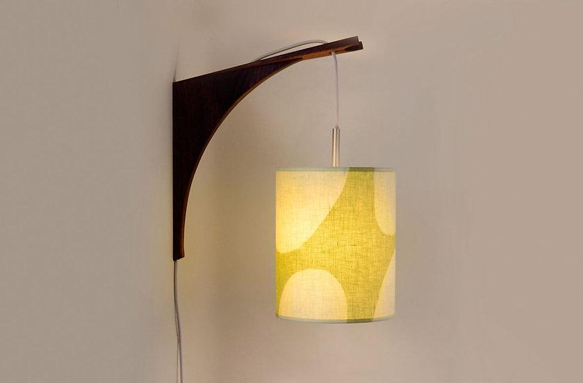 LUMA WALL LAMP - Green Shade/Walnut or Sapele bracket