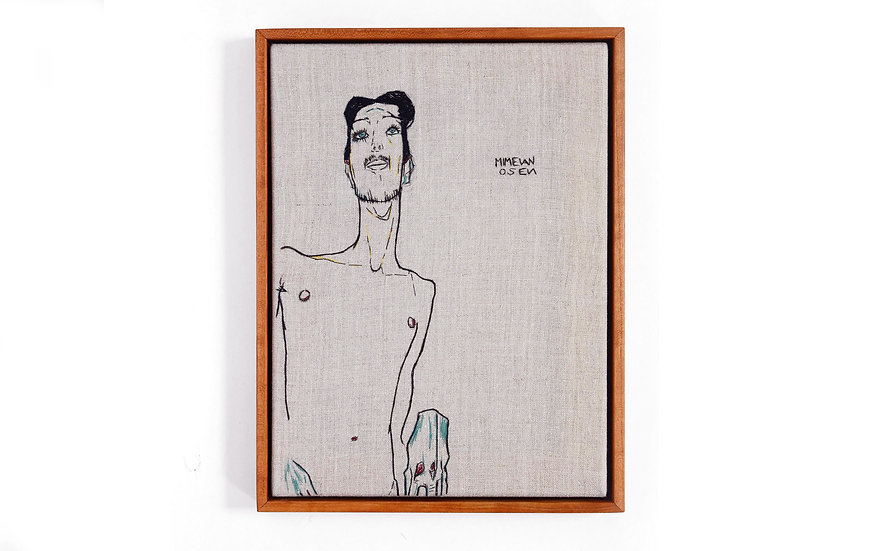 """EGON SCHIELE EMBROIDERY ART (9' x 12"""") MADE TO ORDER"""