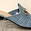 Thumbnail: Pale Blue Moc Croc Sling Back Snaffle Front Shoes