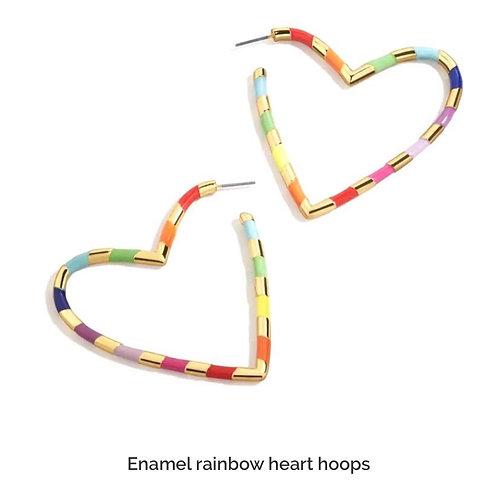 Enamel  Rainbow Heart Hoop Earrings