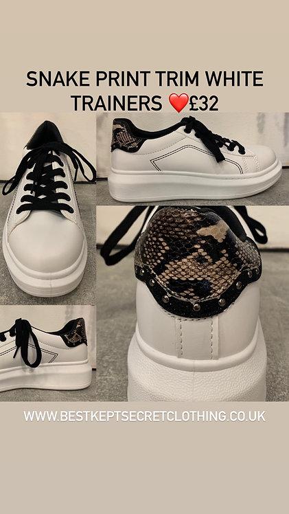 Snake print trim white trainers