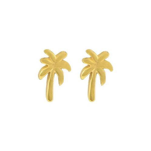 Palm tree stud earrings in sterling silver