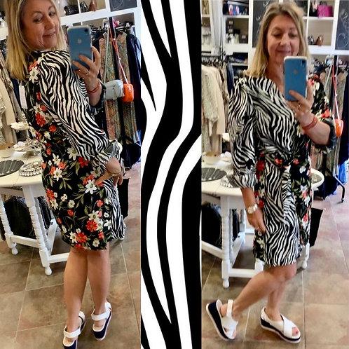 Zebra print & floral wrap dress