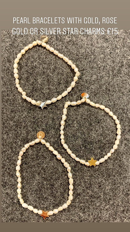 Pearl bracelet with star charm
