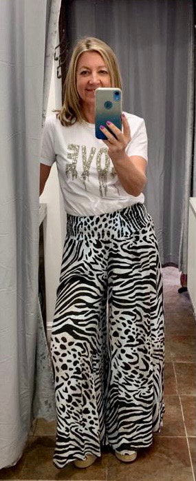 Zebra Print Palazzo Italian Trousers