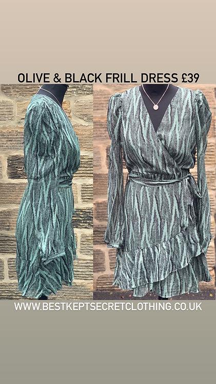Olive & Black Frill Short Dress