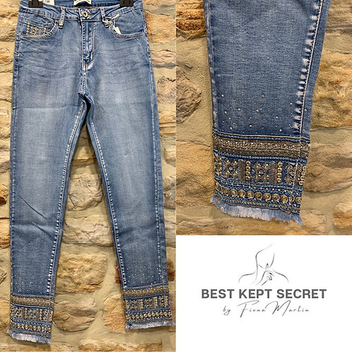 Pale Denim Jeans with Jewel Ankle Detail