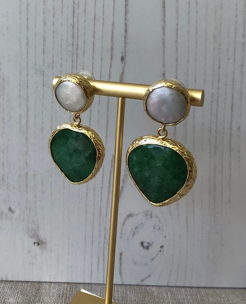 Green & Freshwater Pearl Chunky Earrings