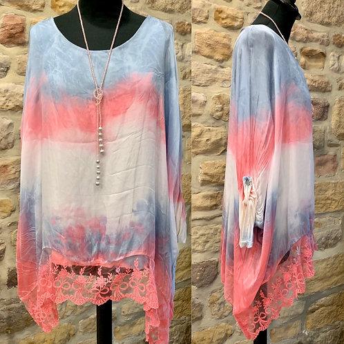 Italian Tie Dye Lace Trim Top