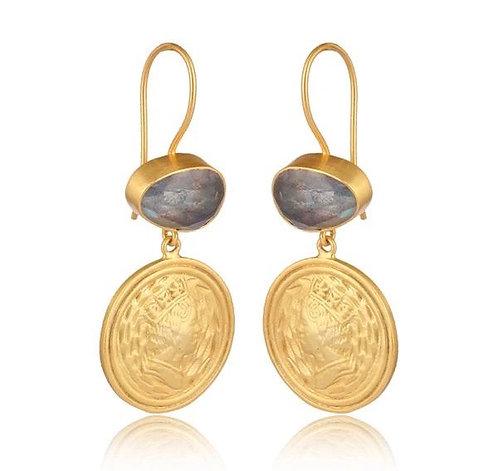 Labradorite Coin Drop Earrings