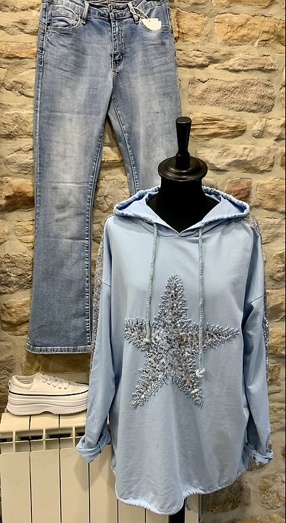 Cotton Hoodie with Sequin Star Motif