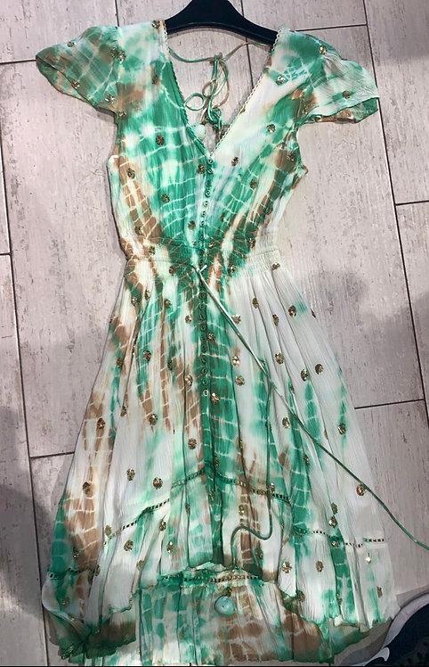 Suri Mint & Gold Sequin Embellished Maxi Dress
